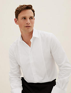 Cotton Blend Tailored Fit Dinner Shirt, WHITE, catlanding