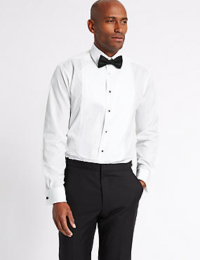 2in Longer Regular Fit Dinner Shirt, WHITE, catlanding