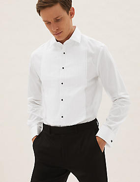Pure Cotton Slim Fit Dinner Shirt, WHITE, catlanding