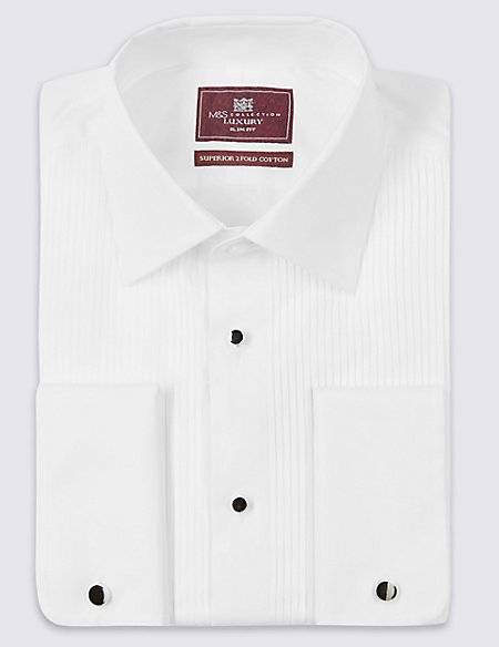 Pure cotton slim fit dinner shirt m s collection luxury for Dinner shirts slim fit