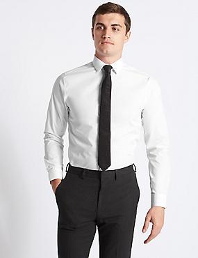 Easy to Iron Slim  Fit Shirt, WHITE, catlanding