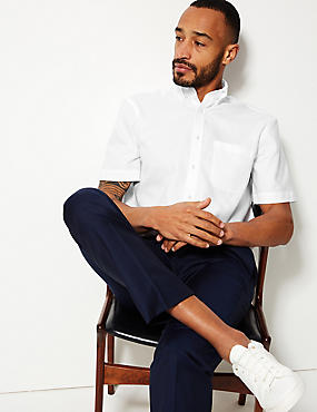 Pure Cotton Easy to Iron Oxford Shirt, WHITE, catlanding