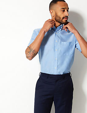 Short Sleeve Regular Fit Oxford Shirt, CORNFLOWER, catlanding
