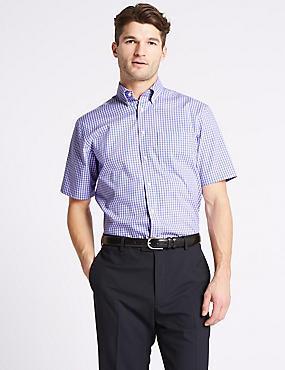 Short Sleeve Regular Fit Oxford Shirt, PURPLE MIX, catlanding