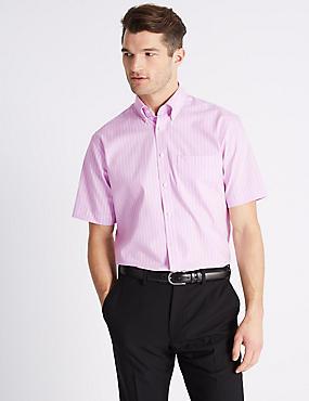 Short Sleeve Regular Fit Oxford Shirt, PINK MIX, catlanding