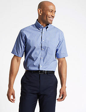 Short Sleeve Regular Fit Oxford Shirt, BLUE MIX, catlanding