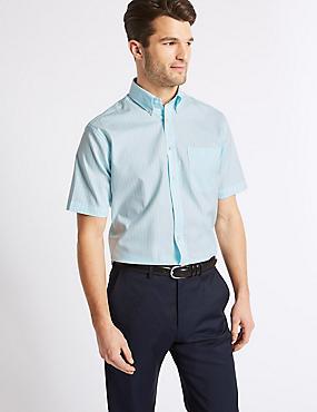 Short Sleeve Regular Fit Oxford Shirt, AQUA MIX, catlanding