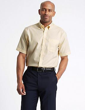 Short Sleeve Regular Fit Oxford Shirt, YELLOW MIX, catlanding
