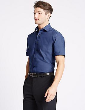 Cotton Blend Non-Iron Tailored Fit Shirt, NAVY MIX, catlanding