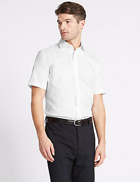 Cotton Blend Non-Iron Tailored Fit Shirt, WHITE, catlanding