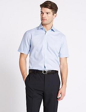 Cotton Blend Non-Iron Tailored Fit Shirt, SKY BLUE, catlanding