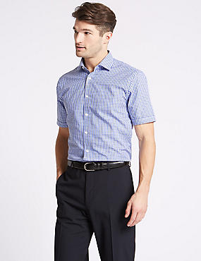 Cotton Blend Non-Iron Tailored Fit Shirt, , catlanding