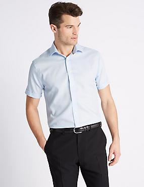 Short Sleeve Non-Iron Slim Fit Shirt, SKY, catlanding