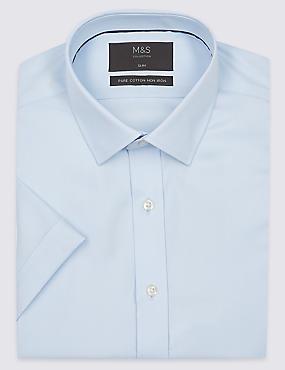 Pure Cotton Non Iron Slim Fit Shirt, SKY, catlanding
