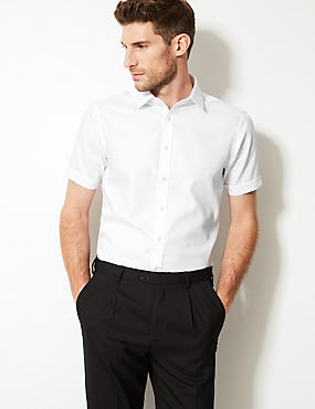 Pure Cotton Short Sleeve Slim Fit Shirt, WHITE, catlanding