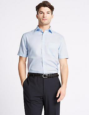 Short Sleeve Non-Iron Tailored Fit Shirt, SKY, catlanding