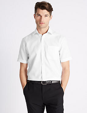 Short Sleeve Non-Iron Tailored Fit Shirt, WHITE, catlanding