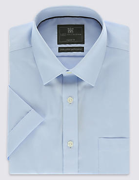 Performance Non-Iron Pure Cotton Short Sleeve Fine Twill Shirt