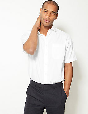 Performance Pure Cotton Non-Iron Short Sleeve Satin Striped Shirt