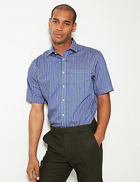 Short Sleeve Non-Iron Regular Fit Shirt, NAVY MIX, catlanding
