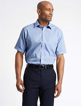 Short Sleeve Non-Iron Regular Fit Shirt, BLUE MIX, catlanding