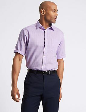 Short Sleeve Non-Iron Regular Fit Shirt, LILAC MIX, catlanding