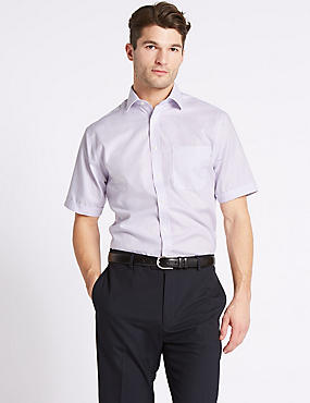 Short Sleeve Non-Iron Regular Fit Shirt, PINK MIX, catlanding