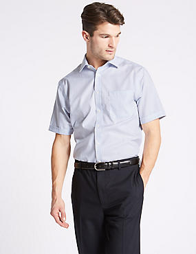 Short Sleeve Non-Iron Regular Fit Shirt, BLUE MIX, catlanding