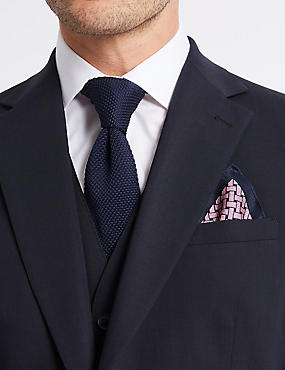 Pure Silk Lattice Print Pocket Square, PINK MIX, catlanding