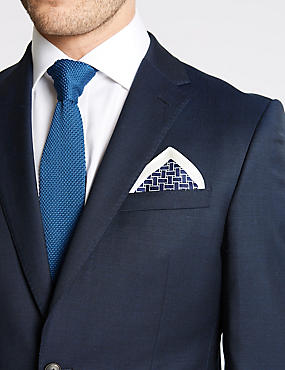 Pure Silk Lattice Print Pocket Square, NAVY MIX, catlanding