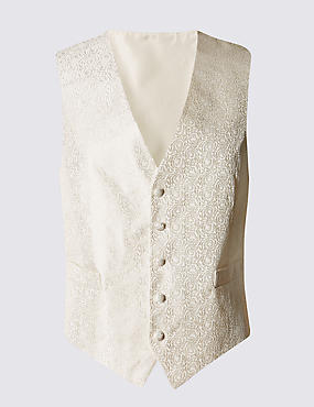 Pure Silk 5 Button Floral Waistcoat
