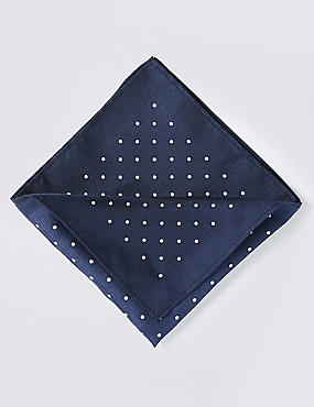 Pure Silk Spotted Pocket Square, NAVY MIX, catlanding