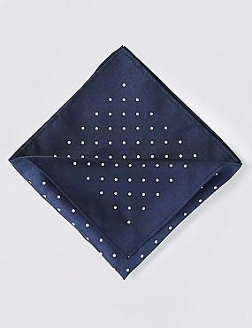Pure Silk Spot Print Pocket Square, NAVY MIX, catlanding