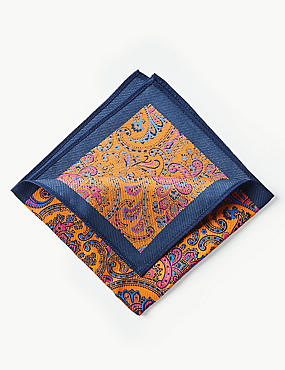Pure Silk Paisley Print Pocket Square, ORANGE, catlanding