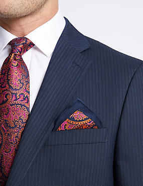 Pure Silk Paisley Print Pocket Square, ORANGE MIX, catlanding