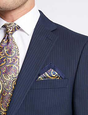 Pure Silk Paisley Print Pocket Square, YELLOW MIX, catlanding