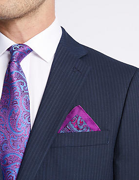 Pure Silk Paisley Print Pocket Square, FUCHSIA MIX, catlanding