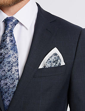 Pure Silk Floral Print Pocket Square, NAVY MIX, catlanding
