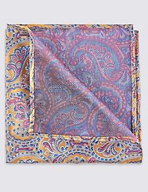 Pure Silk Paisley Print Pocket Square