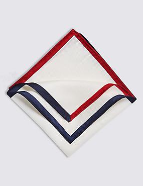Pure Silk Contrast Border Pocket Square , , catlanding