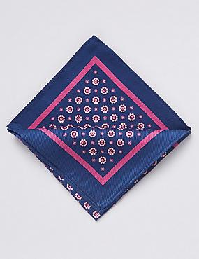 Pure Silk Foulard Pocket Square, BLUE MIX, catlanding