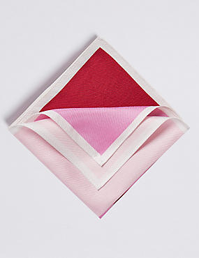 Pure Silk Textured Pocket Square, RED MIX, catlanding