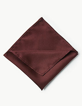 Pure Silk Pocket Square, BURGUNDY, catlanding