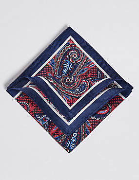 Pure Silk Floral Print Pocket Square