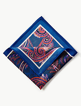 Pure Silk Paisley Print Pocket Square, COBALT, catlanding