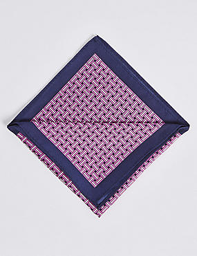 Pure Silk Lattice Print Pocket Square, MAGENTA MIX, catlanding