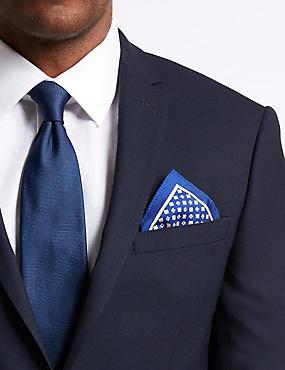 Pure Silk Geometric Print Pocket Square, BRIGHT BLUE MIX, catlanding