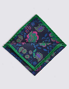 Pure Silk Floral Print Pocket Square, BRIGHT GREEN, catlanding