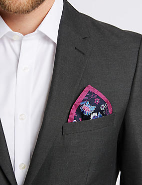 Pure Silk Floral Print Pocket Square, BRIGHT MAGENTA, catlanding