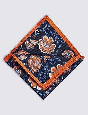 Pure Silk Floral Print Pocket Square, BRIGHT ORANGE, catlanding